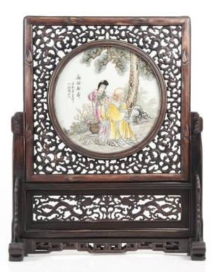 Chinese Hand Painted Table Screen Shou Lan Caihe