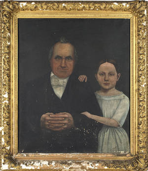 Oil on canvas portrait of a man and young girl