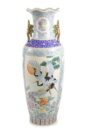 Chinese Famille Rose Porcelain Floor Vase 20th C