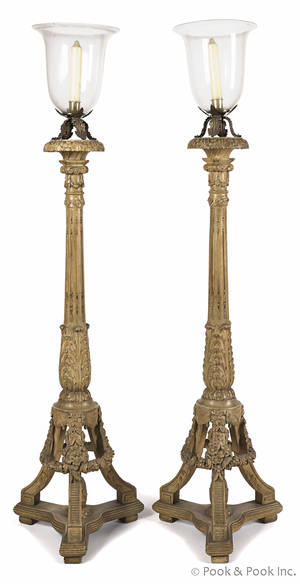 Pair of carved and gessoed torchieres