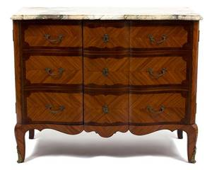 A Louis XVI Style Inlaid Mahogany Serpentine Cabinet