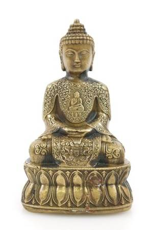 Small Gilt Bronze Seated Buddha Sculpture Marked
