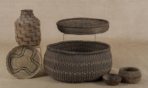 Four Native American basket items
