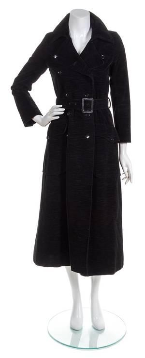 An Yves Saint Laurent Black Velvet Trench Coat