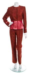 A JeanLouis Scherrer Red Boucle and Leather Suit Ensemble