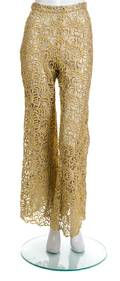 A Pair of Gianni Versace Metallic Gold Lace Pants