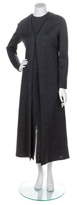 A Gianfranco Ferre Gray Knit Dress and Matching Coat