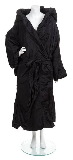 An Yves Saint Laurent Black Taffeta Opera Coat