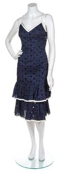 A Peter Som Navy and White Eyelet Dress