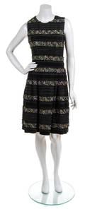 An Oscar de la Renta Green Velvet and Tweed Sleeveless Dress