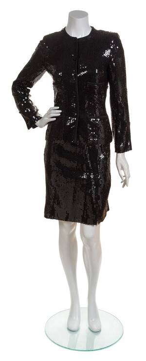 A Chanel Black Sequined Suit