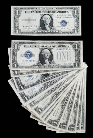 A Group of EightyFour United States 1 Silver Certificates