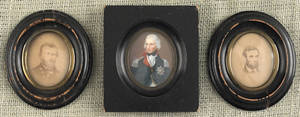 Miniature watercolor on ivory portrait of a gentleman in military dress together with two miniature portraits of Lincoln and Grant