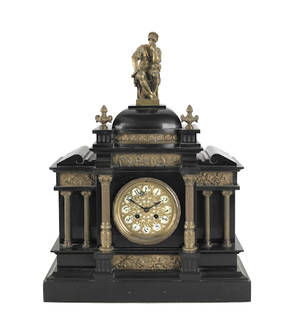 Victorian slate mantle clock with a Marque movement