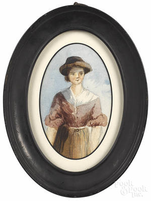 Small English watercolor portrait of a young woman