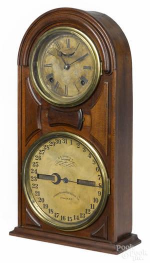 Ithaca Calendar Clock Co walnut mantel clock