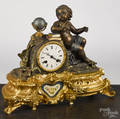 Japy Frres gilt spelter mantel clock