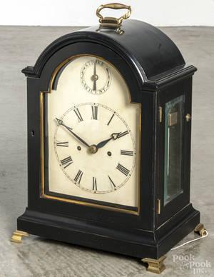 English ebonized bracket clock with a fusee movement