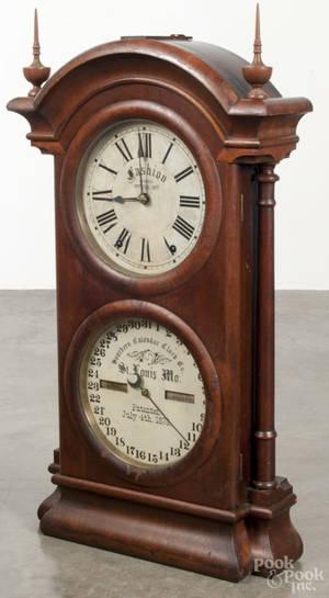 Southern Calendar Clock Co   mahogany mantel clock
