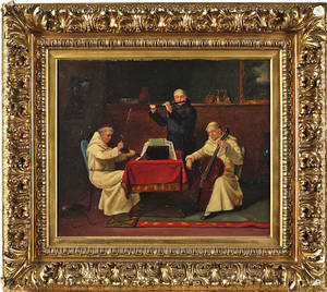 Continental oil on canvas interior with monks playing music