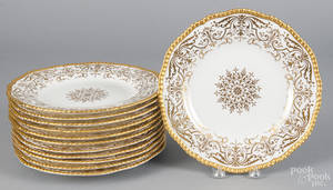 Set of twelve Coalport porcelain plates with gilt decoration