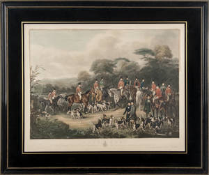 Color fox hunt engraving