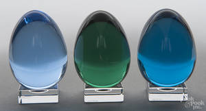 Three Baccarat colored glass eggs