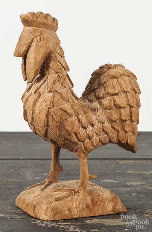 Carved balsa wood rooster