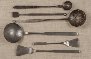 Six Pennsylvania wrought iron utensils