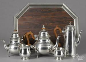 Fourpiece Williamsburg Stieff pewter tea service