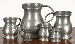 Assembled set of six English pewter measures