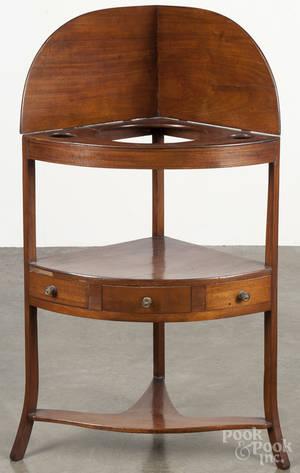 George III mahogany corner wash stand