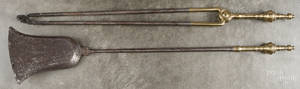 Federal brass and iron fire tongs and shovel