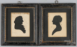Pair of Peales Museum hollowcut silhouettes of a man and woman