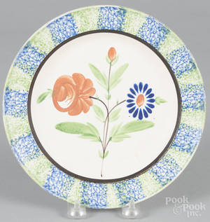Blue and green spatterware plate