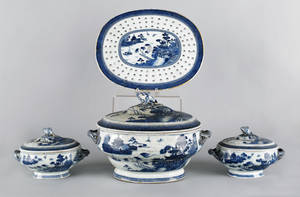 Two Chinese export Canton sauce tureens