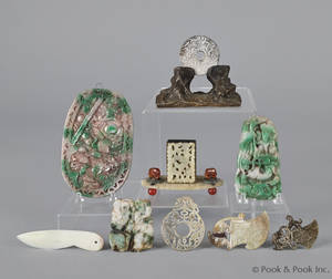 Group of Chinese jade and hardstone pendants