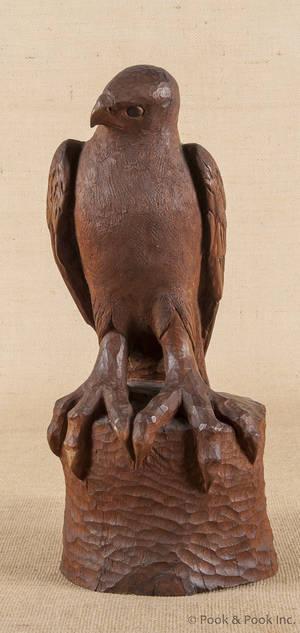 Carved mahogany eagle