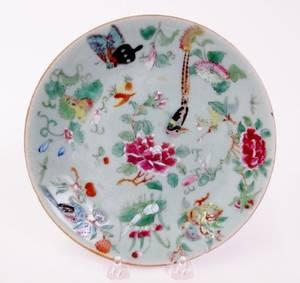 Chinese Celadon Butterfly  Bird Plate