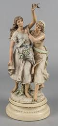Painted spelter figural group