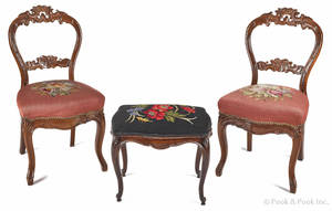 Pair of Victorian carved mahogany side chairs