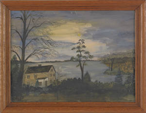 Watercolor landscape of a house by a lake