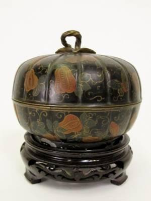 Oriental Hand Painted Metal Pumpkin Vessel