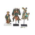 Three chinese figural terra cotta roof tiles