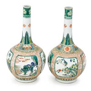 Pair of chinese famille verte vases