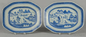 Two Chinese export Canton porcelain platters 19th c