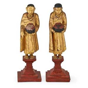 Pair of chinese giltwood attendants