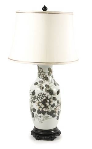 Chinese Porcelain Vase Table Lamp wFloral Motif