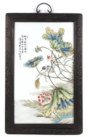 19th C Chinese Porcelain Plaque Bird  Flowers
