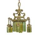 Tiffany studios attr bronze and glass chandelier
